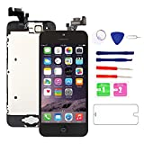 for iPhone 5 Screen Replacement with Home Button, Black - MAFIX Full Pre-Assembly LCD Display Digitizer Touch Screen Tool Kits for Model A1428/A1429/A1442