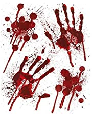 3 X Halloween Bloody Hands Window Stickers - Bloody designs HAND PRINTS with Blood Splatter