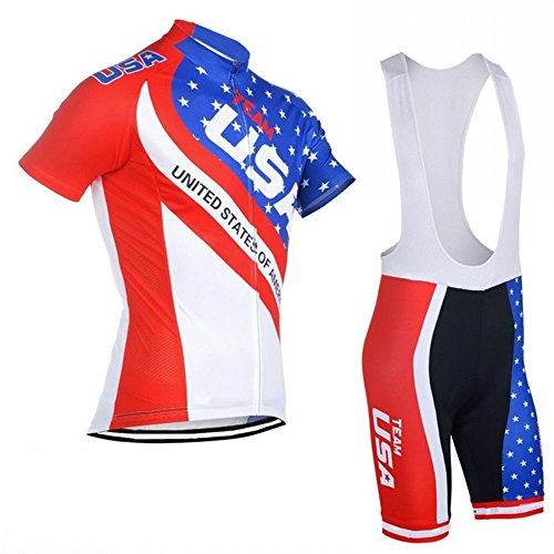 SGCIKER Team USA Cycling Jerseys us Flag Short Sleeve Bike Clothing Jersey Sets bib Shorts with Silicon Gel pad(M)