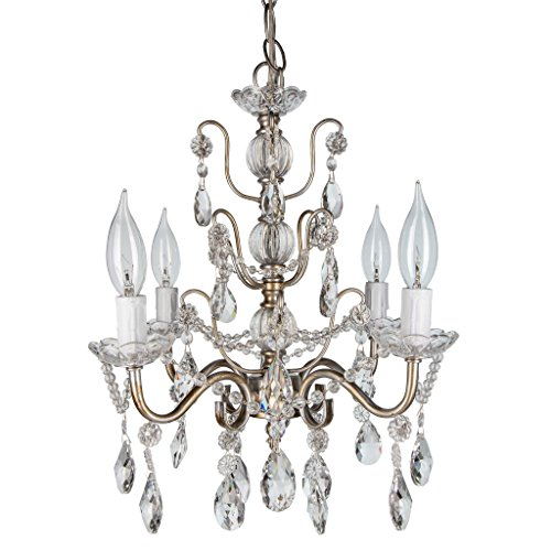 'Madeleine Collection' Authentic Crystal Swag Chandelier Lighting with 4 Lights, Mini Style W13.5″ X H14″ (Silver)