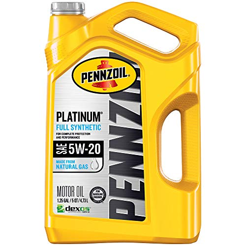 - Pennzoil Platinum Full Synthetic Motor Oil (SN) 5W-20, 5 Quart - Pack of 1