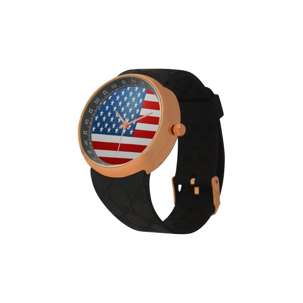 Novelty Gift US American Flag Men's Rose Gold Plated Resin Strap Watch by American Flag Watch (Image #2)
