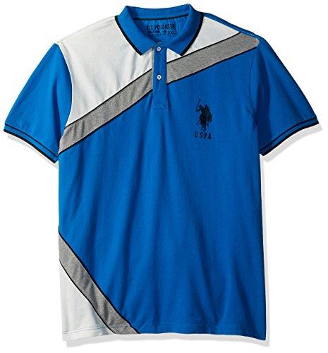 U.S. Polo Assn. Mens Slim Fit Color Block Short Sleeve Stretch Pique Shirt