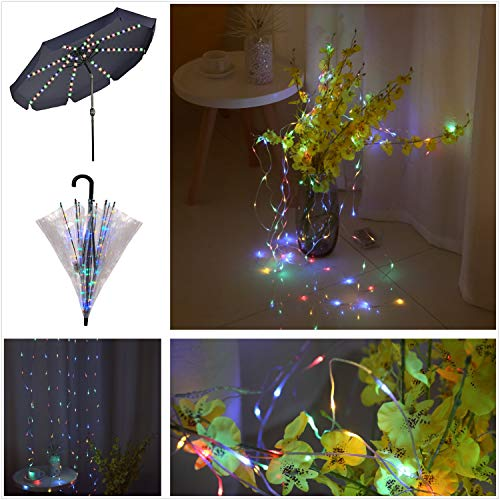 Areskey Christmas Lights Outdoor Decor,104 LED Starry Curtain Light,Umbrella Light,Waterproof Battery Operated Watering Can String Lights Decorative Garden Party Flower,8 Modes Remote,Colorful