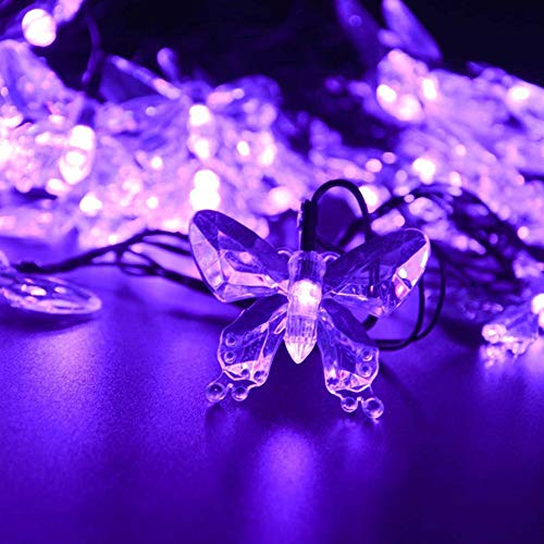 M.best Waterproof 4.8M/16FT 20LEDs Solar Lamps Butterfly Garland Fairy Christmas Outdoor Garden Party Solar led Decoration Light (Purple) -
