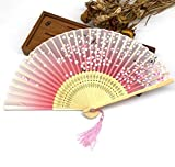 Rose Red 30Pcs Bamboo Rib Pocket Fans Silk Blossom Flower Folding Hand Fan Summer Women Girl Dancing Fan