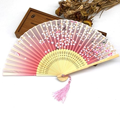 Rose Red 30Pcs Bamboo Rib Pocket Fans Silk Blossom Flower Folding Hand Fan Summer Women Girl Dancing Fan by Hand Fan