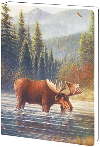 - Tree-Free Greetings Recycled Soft Cover Journal, Ruled, 5.5 x 7.5 Inches, 160 Pages, River Moose Themed Wildlife Art (89062)