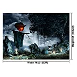 Allenjoy 7x5ft photography backdrop background horror Halloween night tombstones candles scarecrow children adult props photo studio booth