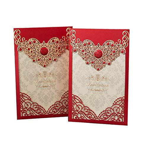 PONATIA 25PCS Laser Cut Invitations Cards Luxury Diamond Gloss Design Wedding Bridal Shower Invitation Baby Shower Engagement Birthday Invitation Graduation (Red) Cocktail Bridal Shower Invitations