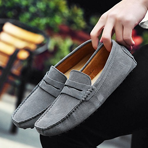 rismart Loafers Minimalism Grey Soft Slippers Mens' Driving Moccasin Suede Shoes tvUrvwq