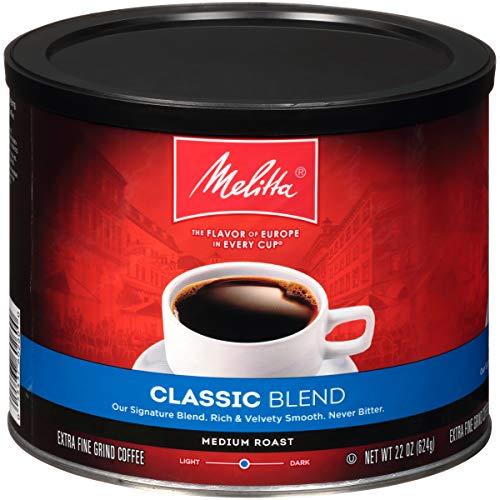 Melitta Classic Blend Coffee, Medium Roast, Extra Fine Grind, 22 Ounce Can