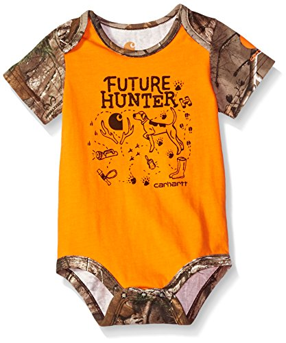 Carhartt Baby Boys Short Sleeve Bodyshirt, Orange Tiger, 18M