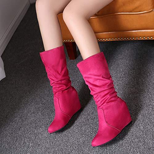 Calzado Nieve Fucsia Botitas Estrecha Altas Mujer Botas Luckygirls Caña Cuñas De Moda Zapatos 8cm CFtUawq