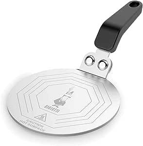 Bialetti DCDESIGN08 Difusores de calor, adaptador para el utilizo de cafeteras y baterías de cocina sobre placas de inducción, Metal, Negro