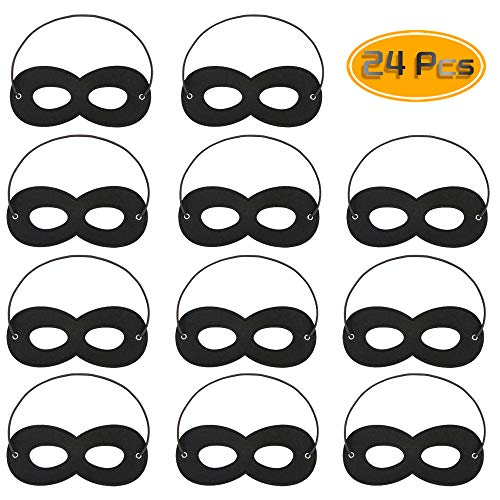 (Kuqqi 24 Pcs Black Felt Mask, Adjustable Eye Masks Half Masks Kids Party Mask with Elastic Rope for Party Cosplay Accessor)