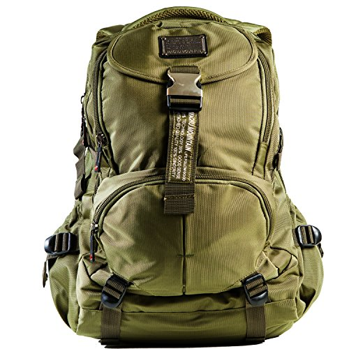 "Machu Mountain Tactical Laptop Backpack, Multipurpose Perfect for Travel Hiking & Camping, School, Fits 13"" to 17"" Laptop & Tablets (Green)"