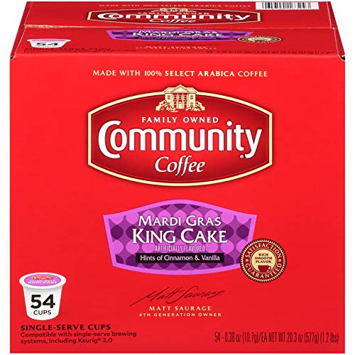 Community Coffee Mardi Gras King Cake K-Cups, Box of 54