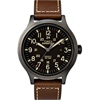 Timex Men's TW4B11300 Expedition Scout 43 Brown/Black Leather Strap Watch