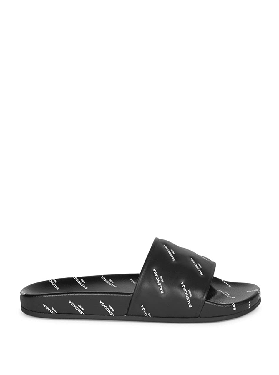 02cc3390f TOPSHOD Unisex Mens Womens Balenciaga Sandals Piscine Flat Balenciaga Slide  Leather Black: Amazon.co.uk: Shoes & Bags
