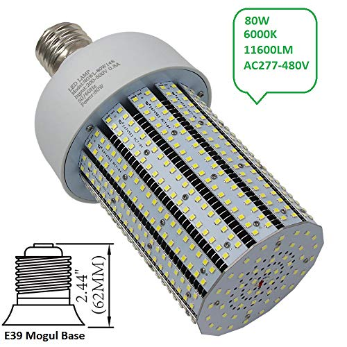 NGTlight 480V 80W LED Corn Light Bulb 347V 250W Mercury Vapor Equivalent Parking Lot Gas Station Light Retrofit 6000K Bright White Corn Lamp AC200-500V ()