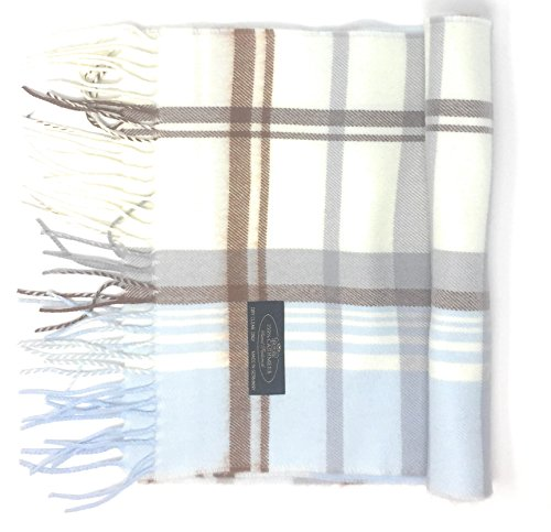 Annys 100% Cashmere Plaid Scarf 12x72 with Gift Bag - Men Cashmere - Cashmere Women (22 Colors) (Plaid - Ivory/Brown/Blue)