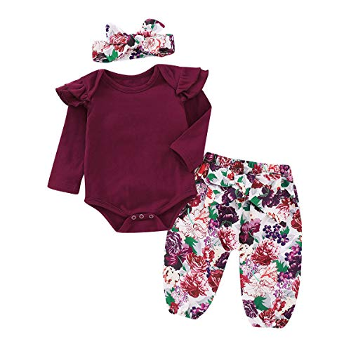 10c482b8e Baby Girl Clothes Baby Girl 3Pcs Outfits Long Sleeve Red Romper + Floarl Long  Pants +