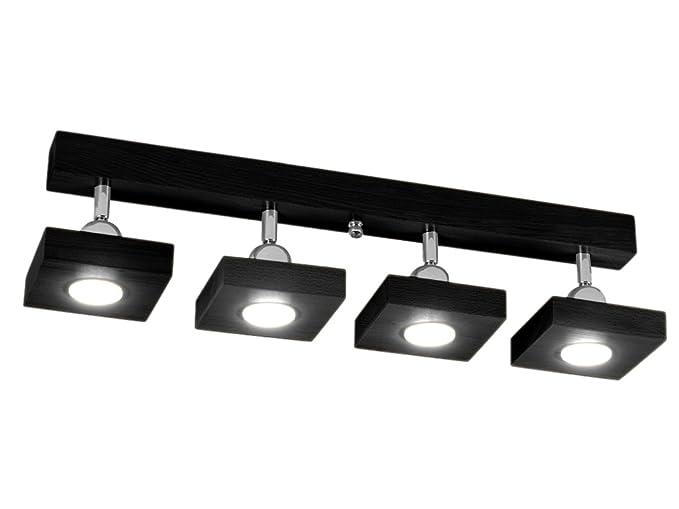 Plafoniere Con Spot : Plafoniera spot a soffitto led illuminazione in legno