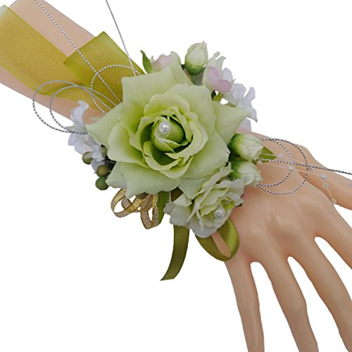 idesmaid Wrist Corsage Wedding Hand Flower Decor, Artificial pearl wrist band, silk roses light green (Orchid Wrist Corsage)