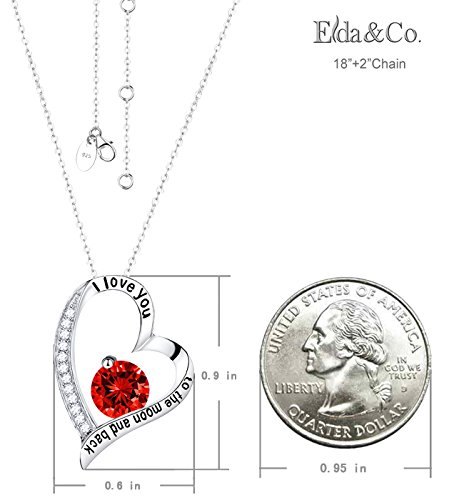 July Birthstone Necklace LC Red Ruby Jewelry I Love You to the Moon and Back Pendant Necklace Sterling Silver Birthday Anniversary Gifts for Women Teen Girls