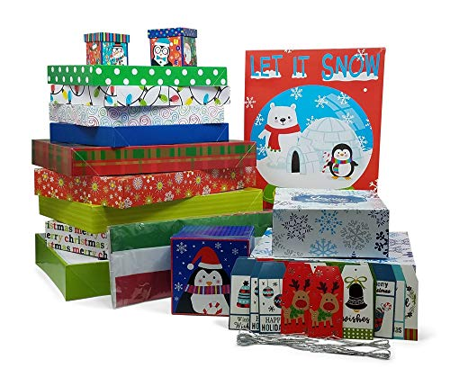Christmas Gift Box Assortment: 15 Variety Sized Christmas Gift Boxes Bundled with 20 Holiday Colored Tissue Paper and 25 Gift Tags (60 Pcs -