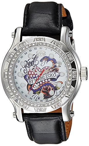 Marc Ecko Unisex Watch E12589M1 With The Flyaway Gloss White Dial And Black Leather Strap