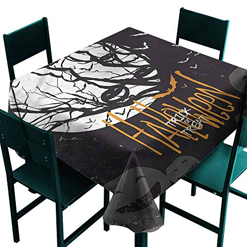 DONEECKL Antifouling Tablecloth Vintage Halloween Full Moon Trees Easy to Clean W36 xL36]()