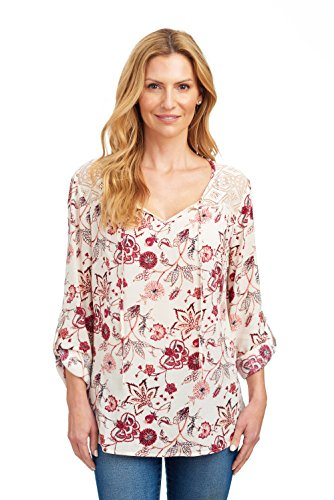 Lace Sleeve Detail Top (Como Blu Women's Roll Tab Long Sleeve Blouse with Lace Shoulder Detail - Raspberry Red Floral, Large)