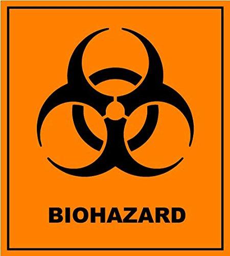 BIOHAZARD Danger Warning Sign Sticker Decal - Orange