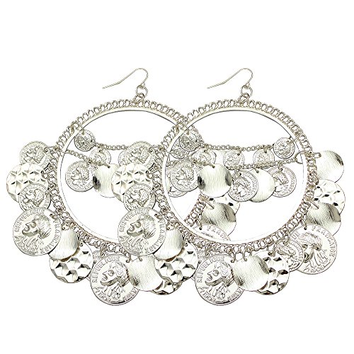 Silver Plated Q&Q Fashion 1Pair Vintage Tribal Rare Coins Big Hoop Banjara Kuchi Belly Dance Chain Boho Gypsy Dangle Earrings,3.9,30g/pc