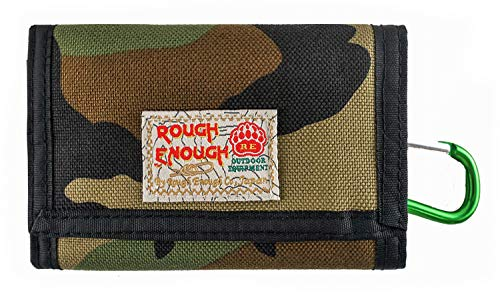 Rough Enough Small Mini Minimalist Card Front Pocket Wallet for Men Boys Kids Zipper Coin Purse Pouch Holder Organizer with Party Gift Set Pack Sport School Outdoor Event Function Cordura Trifold
