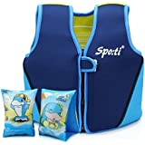 Kids Swim Jacket Baby Buoyancy Vest - Child Neoprene Float Jacket Baby Swimwear Aids, For Kids Age 18 Months-2 Years Old Including Float Armbands,Designed to help children learn to swim (Small)