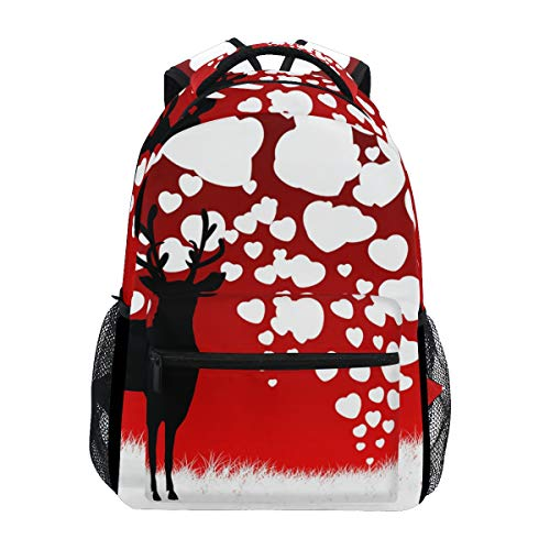 Backpack Reindeer Silhouette Heart Balloon Canvas School Bags Laptop Daypack]()