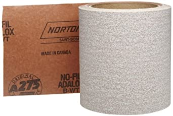 "Norton A275 No-Fil Adalox Abrasive Roll, Paper Backing, Pressure Sensitive Adhesive, Aluminum Oxide, Waterproof, Roll 4-1/2"" Width x 10yd Length, Grit 120 (Pack of 1)"