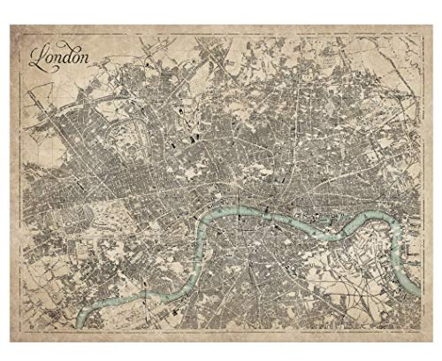 Giclee Sepia Map of London - Large Vintage Map of London - Ready to Frame (Size 28 x 22 inches) - Great Housewarming Gift, Birthday Present, Home Decor