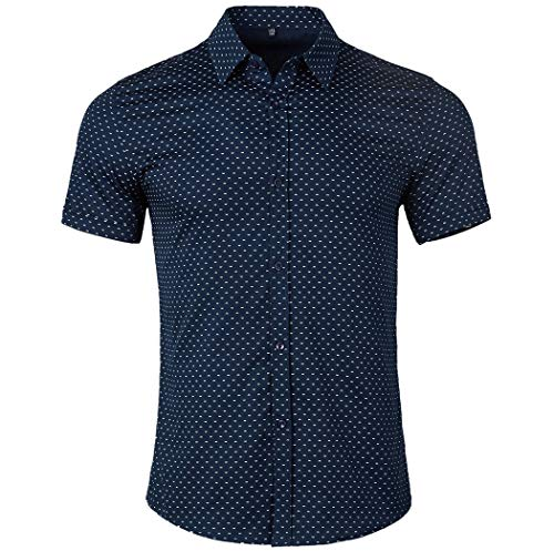(WULFUL Men's Casual Short Sleeve Button Down Shirt Printed Cotton Business Dress Shirts)