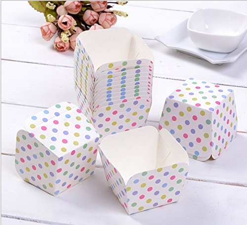 100 Pcs, Colorful Polka Dots Square Cake Muffin Chocolate Cupcake Liner Baking Cup Mold