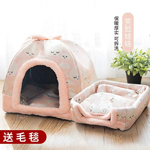 Kennel winter medium-sized small di dog house cat pet house bed washable four seasons universal yurt, pink smiley face, M, 47cm35cm33cm
