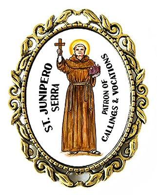 "St Junipero Serra Patron of Callings & Vocations Huge 2"" Antique Bronze Gold Pin Brooche"