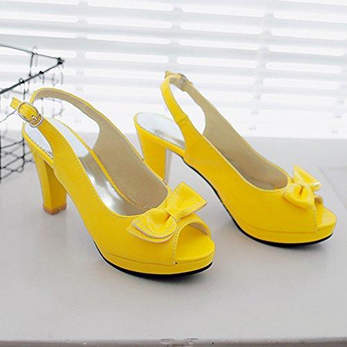 Toe JOJONUNU Yellow Soiree Femmes Sandales Peep Srq0qEwgn