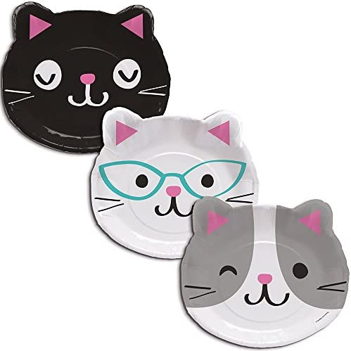 Creative Converting 328704 purr-fectパーティー96-count cat-shaped Paper Plates