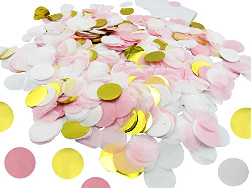 1 inch Circle Confetti - (10,000 Pieces - Pink, White, Gold) 100 Grams - Round Circle Tissue Paper Confetti for Wedding, Baby Showers, Bridal Shower, Parties, Events, Birthday, Table Confetti - Birthday Table Confetti