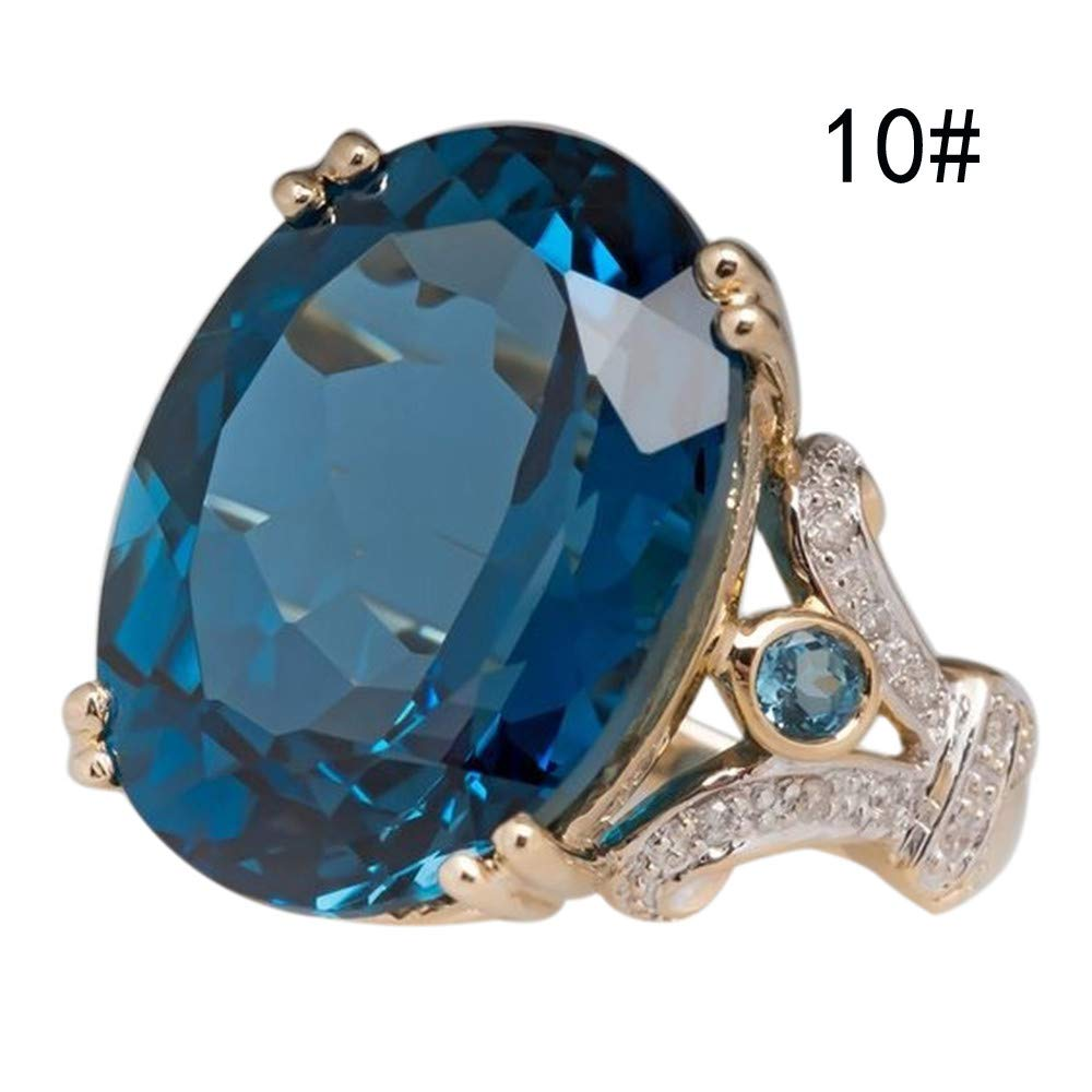 Xshuai  Bague de Mariage pour Femme en Or Jaune avec Saphir Rond Bleu Taille L N P R T