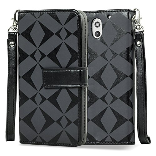 SOJITEK HTC Desire 610 4G LTE Premium Black Diamond on Black Series Color Leather Wallet Case with Stand / Removable Strap, Card & Money Pockets, ID Window Slots Pouches